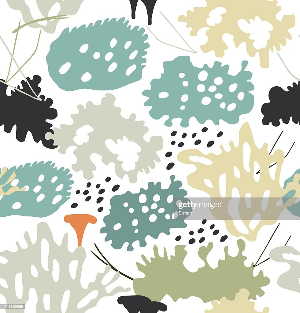 Seamless nordic floral pattern with reindeer moss