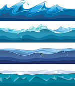 Seamless ocean, sea, water waves vector backgrounds set for ui