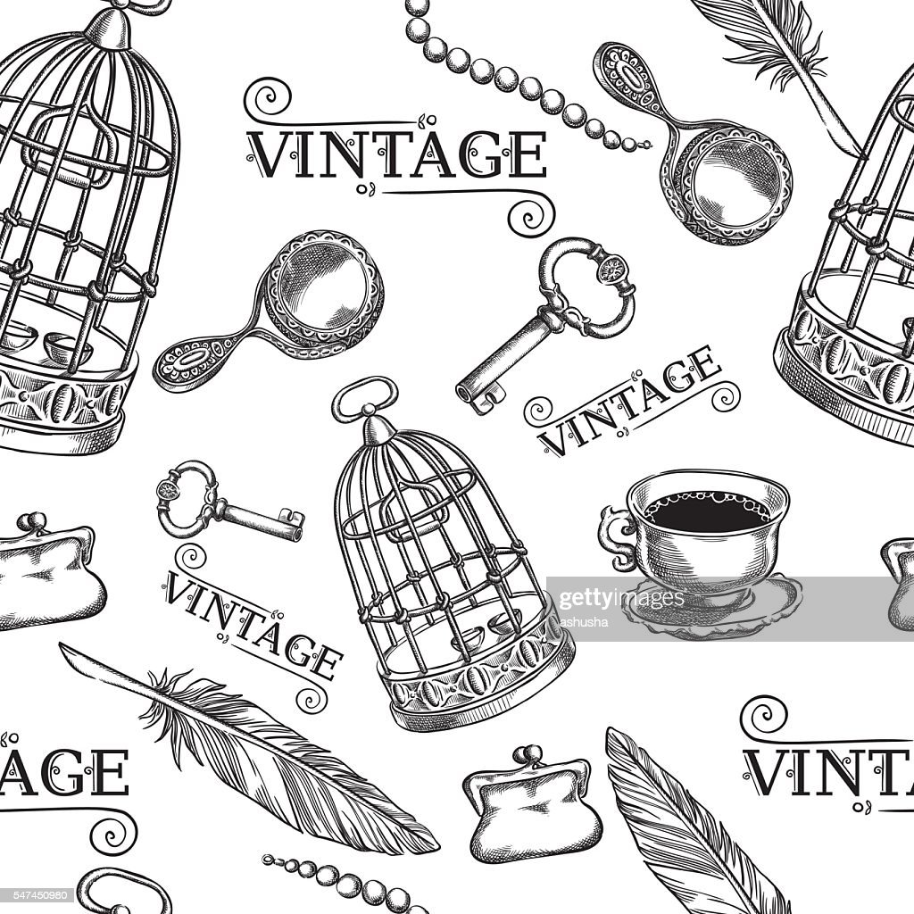 Seamless of ancient things,birdcage , key, pen, cup