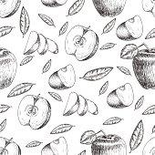 Seamless of hand drawn apple. Vintage sketch style illustration. Organic
