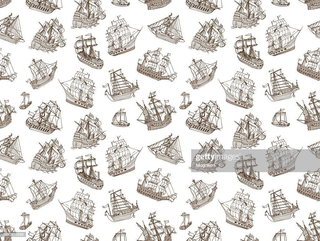 Seamless Old Sailing Ships Doodles : stock illustration