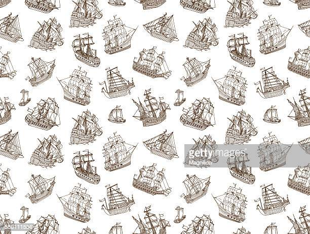 seamless old sailing ships doodles - brigantine stock illustrations, clip art, cartoons, & icons