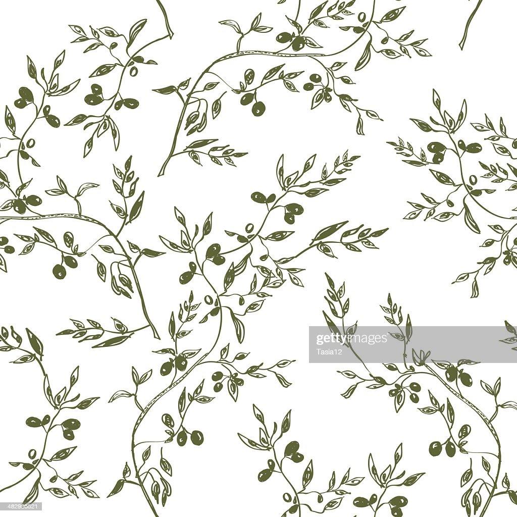 Seamless olive branch pattern hand drawn
