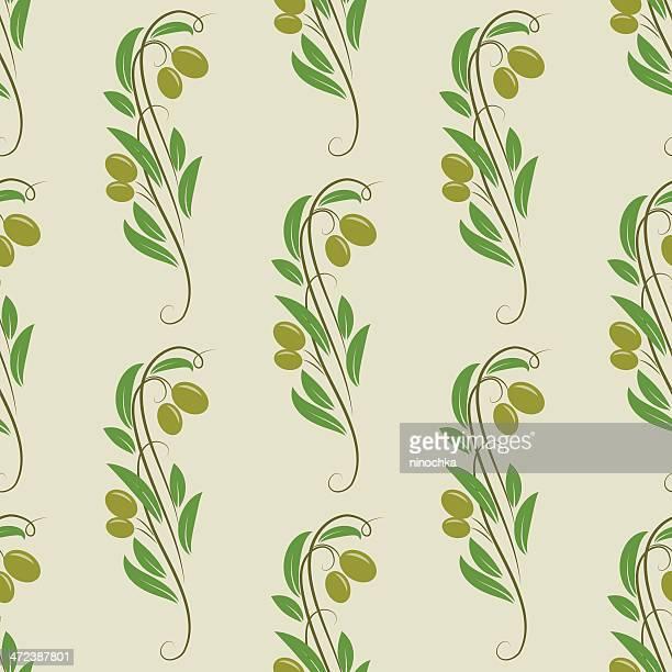 シームレスなオリーブパターン - オリーブの木点のイラスト素材/クリップアート素材/マンガ素材/アイコン素材