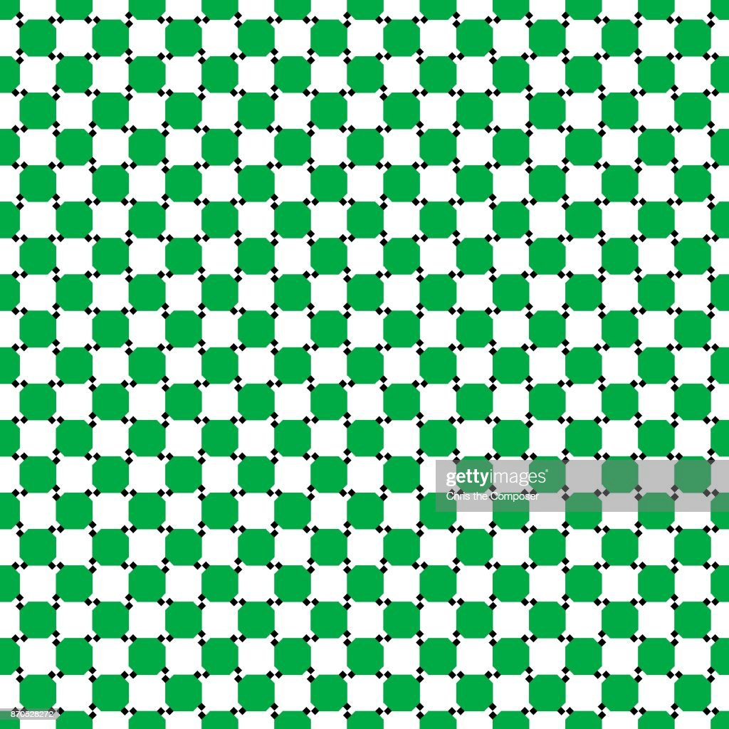 Seamless optical illusion with green parallel squares