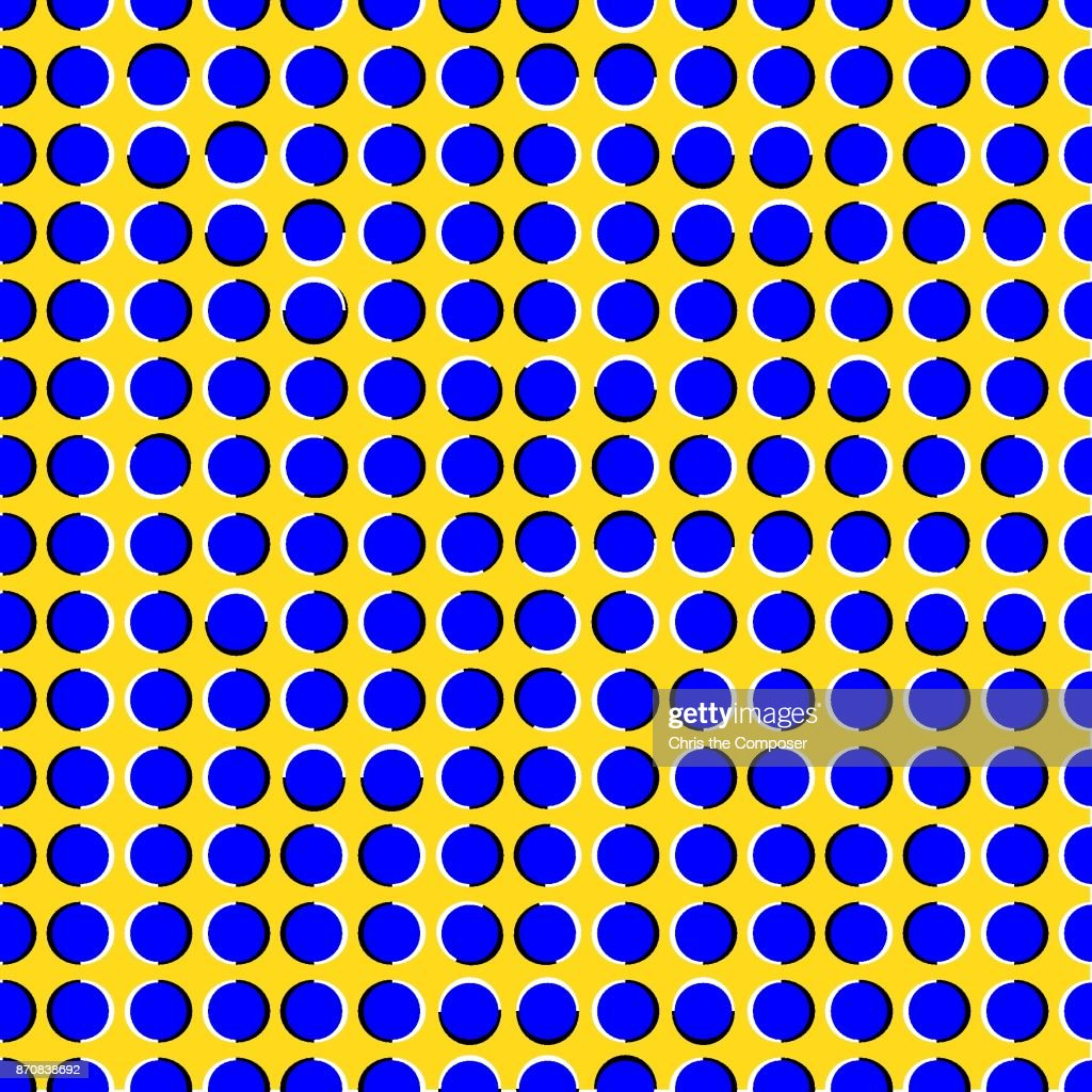 Seamless optical illusion with moving blue circles
