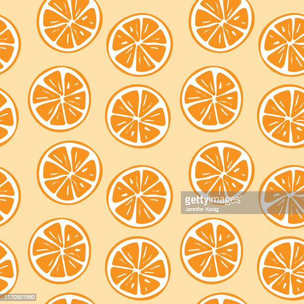 seamless orange slice pattern illustration - orange color stock illustrations