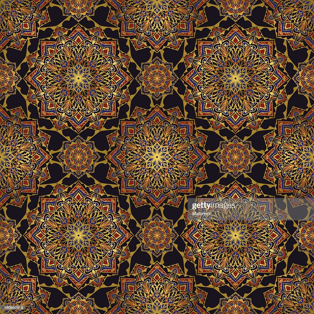 Seamless ornament for textiles.