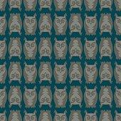 Seamless owl pattern on dark background.
