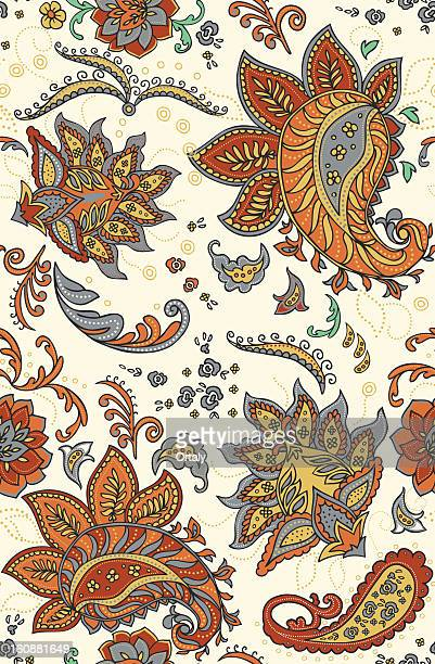 seamless paisley color pattern - paisley pattern stock illustrations, clip art, cartoons, & icons