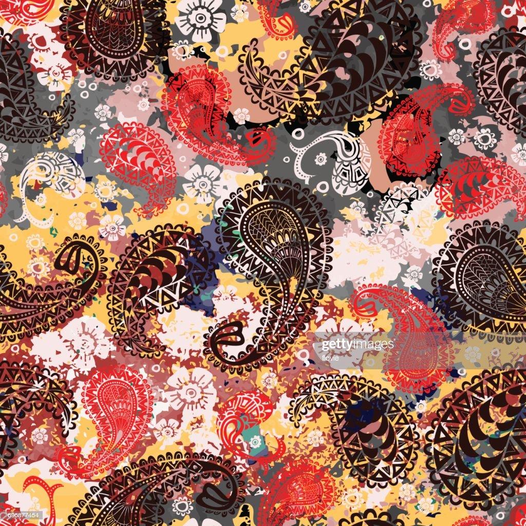 Seamless paisley pattern. Grunge watercolor texture.