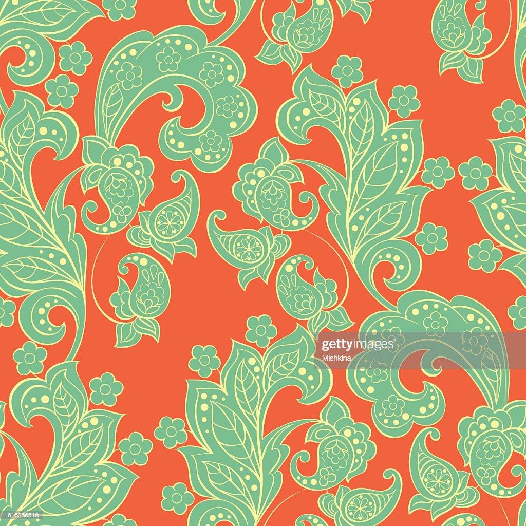 Paisley sem costura padrão em estilo indiano. Floral Ilustração vetorial : Arte vetorial