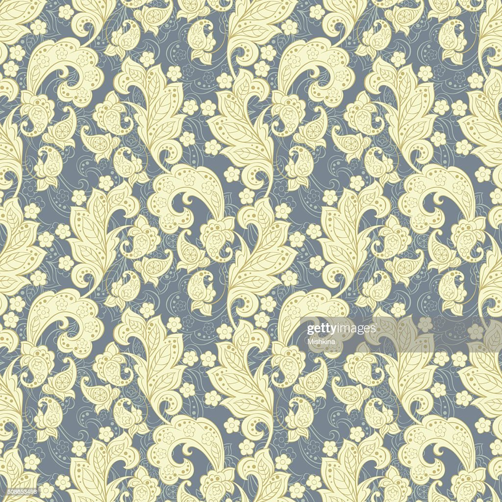 Seamless Paisley pattern in indian style : Vector Art