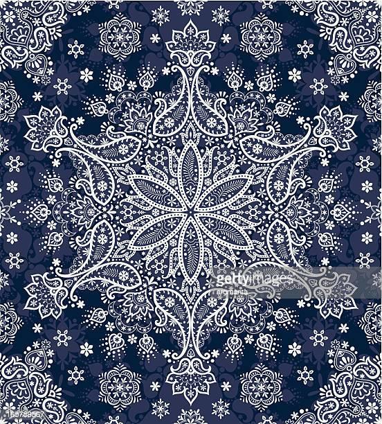 seamless paisley snowflakes - paisley pattern stock illustrations, clip art, cartoons, & icons