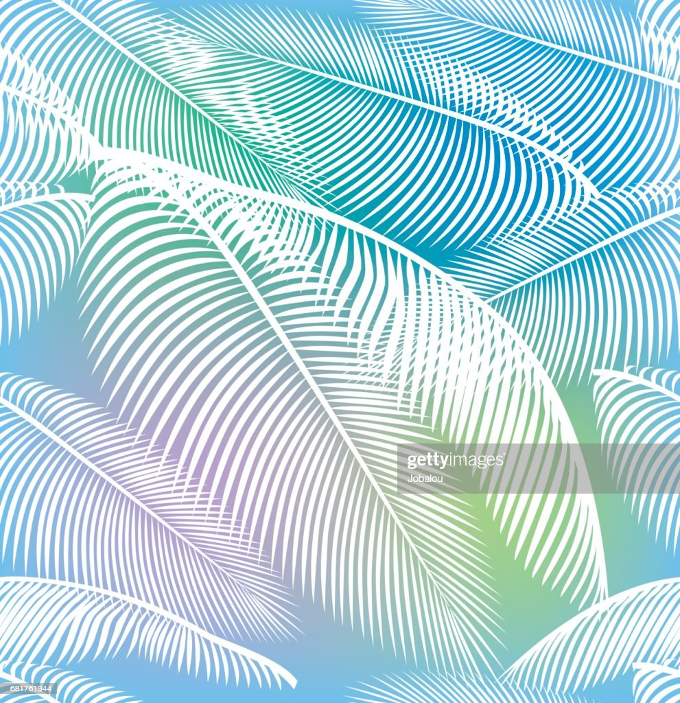 Seamless Palm Tree Leaves Background : Stock Illustration