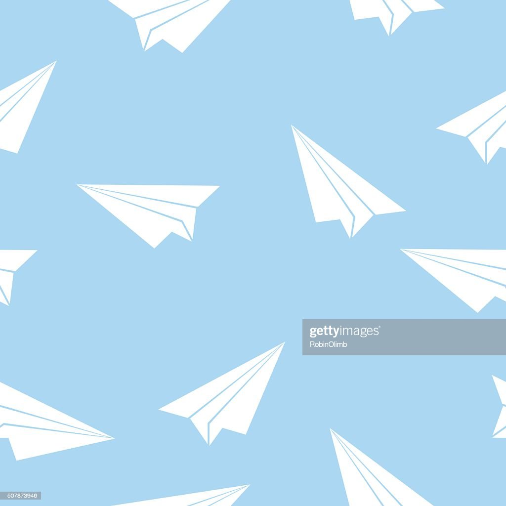 Seamless Paper Airplane Pattern