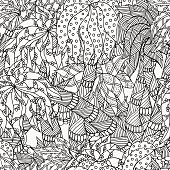 Seamless patter with palm trees. Pattern for coloring book.