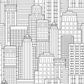 Seamless pattern abstract background of city landscape skyscrapers