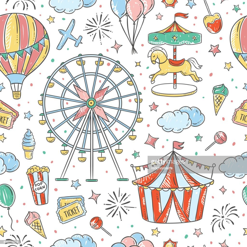 Seamless pattern amusement park hand drawn illustrations. Vintage fair vector elements and outline drawings seamless vector background
