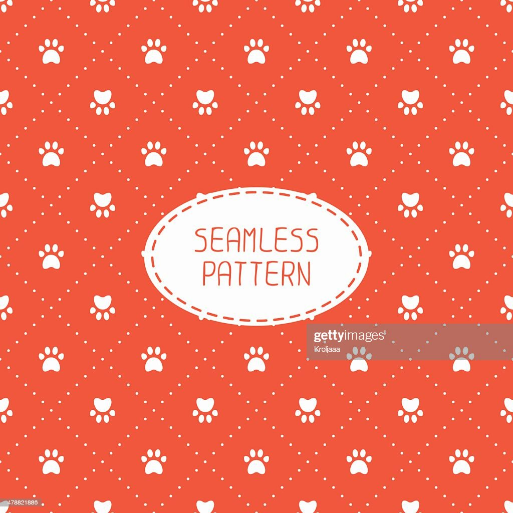 Seamless pattern. Animal footprints, cat, dog. Wrapping paper.  Paw prints.