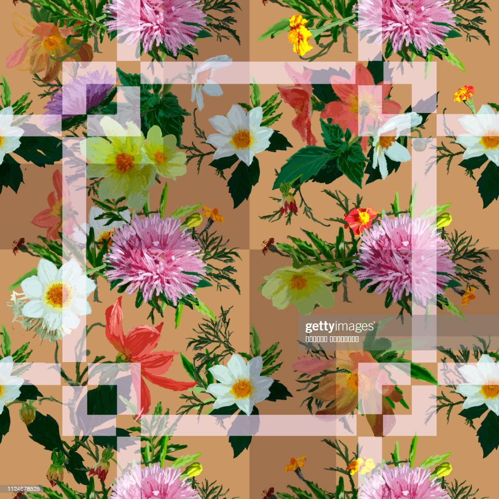 Seamless pattern: asters, cosmes, chamomiles and marigolds on a beige geometric background