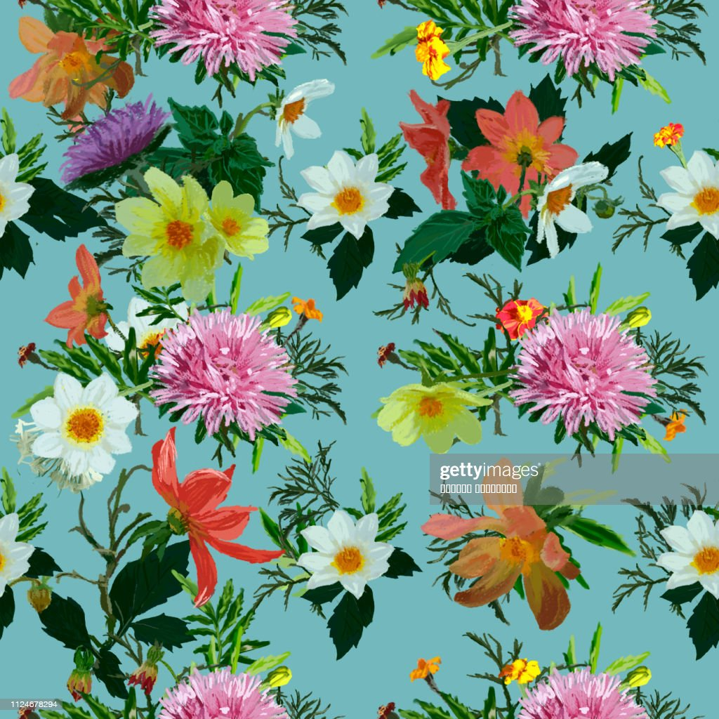 Seamless pattern: asters, kosmey, daisies and marigolds