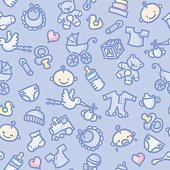 seamless pattern: baby boy in color