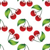 Seamless pattern background cherry red ripe berrie