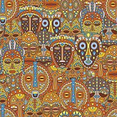 Seamless pattern. Background with different ethnic masks