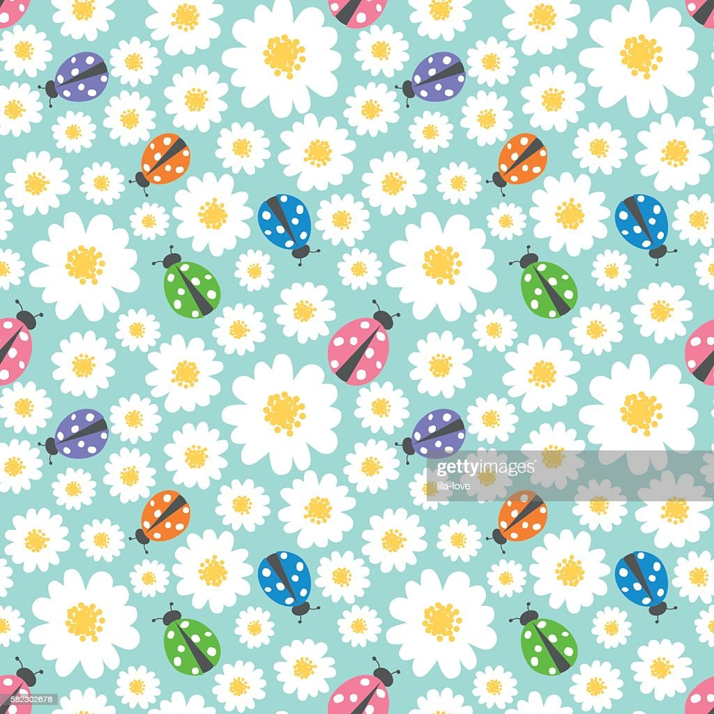 Seamless pattern background with flowers and ladybugs