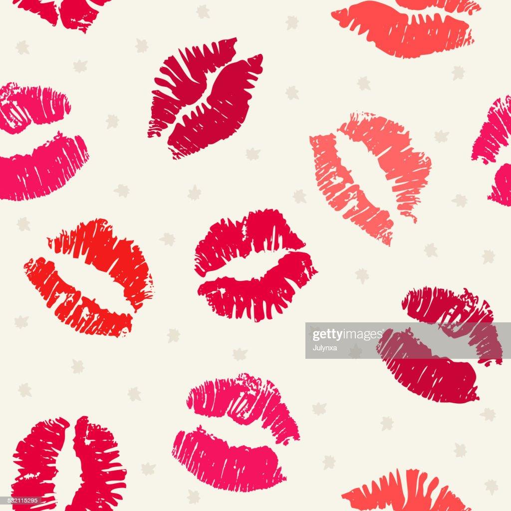 Seamless pattern background with lipsticks prints