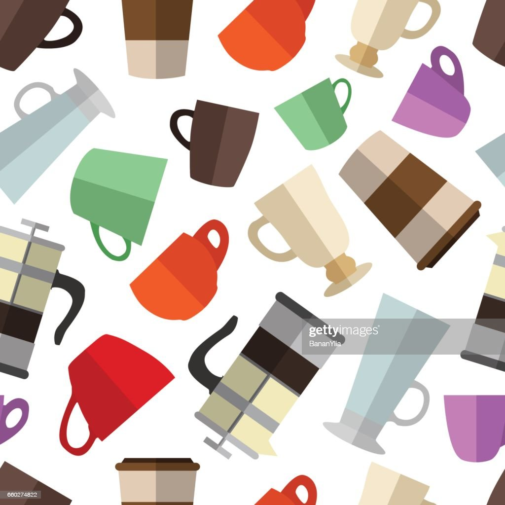 Seamless pattern background with  simple colorful coffee cups a