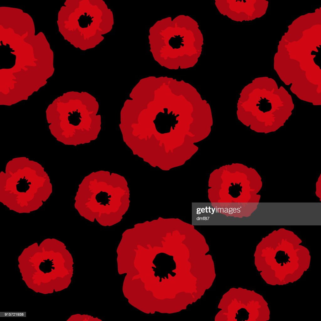 Seamless pattern big,small red Poppies on black