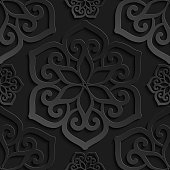 Seamless pattern black 3d paper mandala