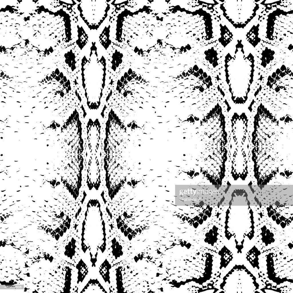 Seamless pattern black on white background. Snake skin texture. Vector