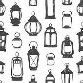 Seamless pattern - black on white retro lanterns