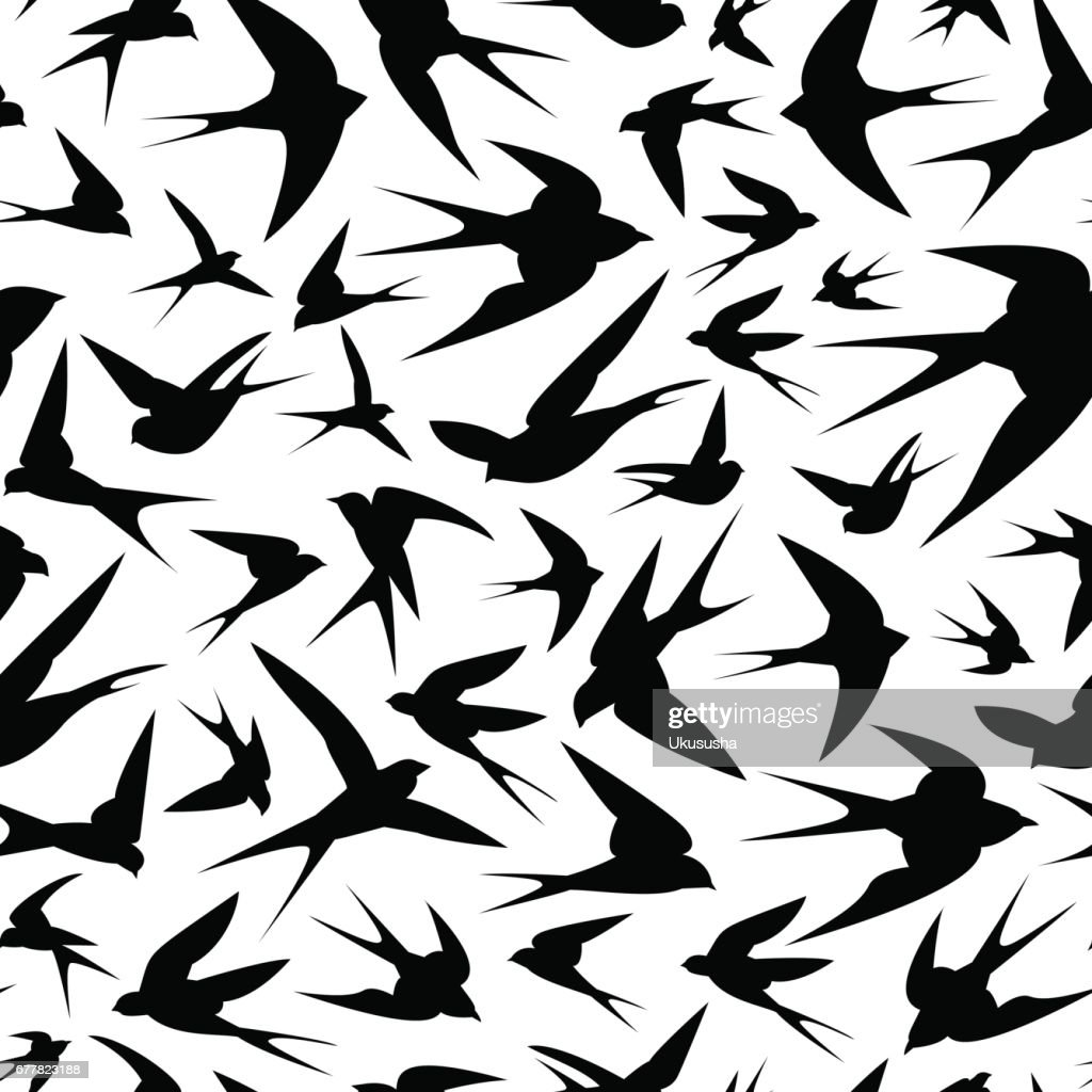seamless pattern - black swallows
