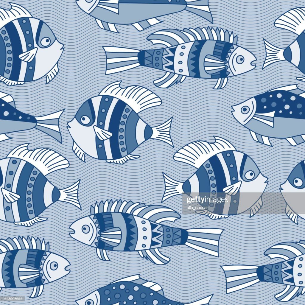 seamless pattern  blue fishes
