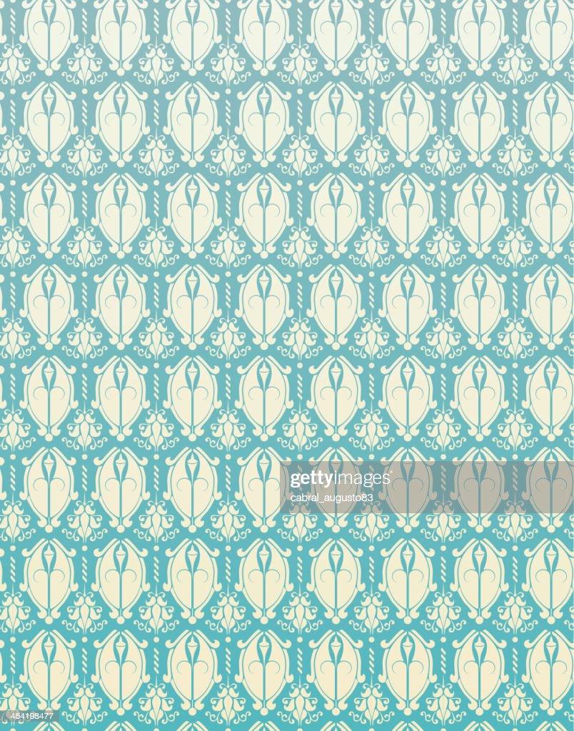 Sem costura padrão Retro azul fundo de flores Damascena : Arte vetorial