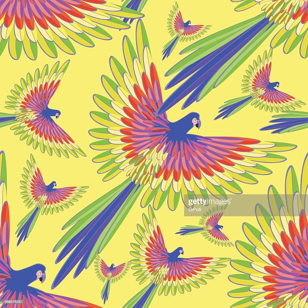 seamless pattern blue the Caribbean parrot fly vector illustrati
