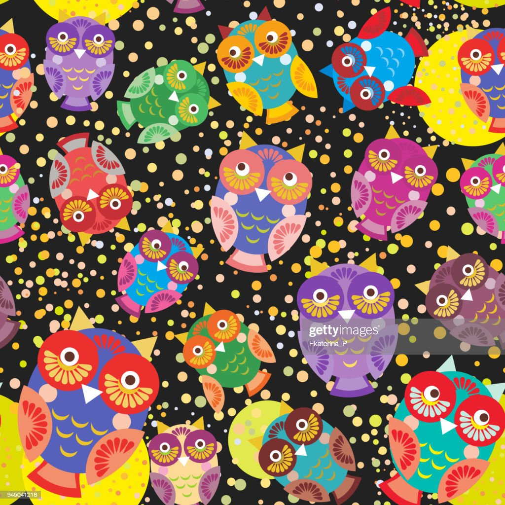 seamless pattern bright colorful cute owls on black background, funny birds face with winking eye, bright colors. Vector