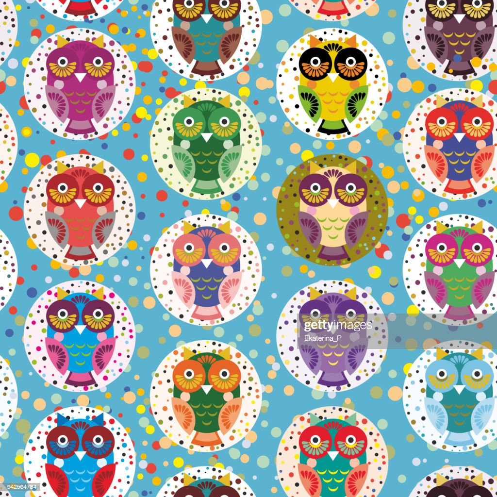seamless pattern bright colorful cute owls on blue background, funny birds face with winking eye, bright colors. Vector