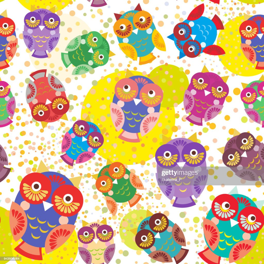 seamless pattern bright colorful cute owls on white background, funny birds face with winking eye, bright colors. Vector