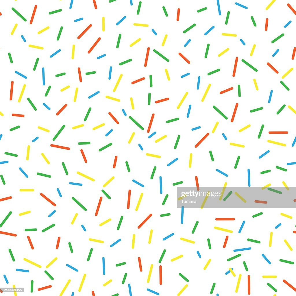 Seamless pattern bright tasty vector donuts sprinkles background.