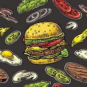 Seamless pattern burger and ingredients include cutlet,
