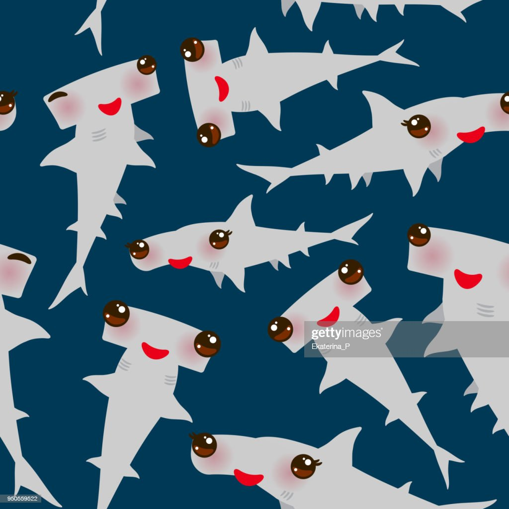 Seamless pattern Cartoon gray Smooth hammerhead Winghead shark Kawaii with pink cheeks and winking eyes positive smiling on dark blue background. Vector