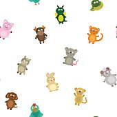 Seamless pattern chinese zodiac signs for your design