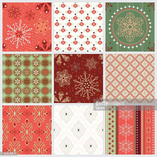 seamless pattern - christmas - classical style stock illustrations, clip art, cartoons, & icons