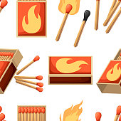 Seamless pattern. Collection of matches. Burning match with fire, opened matchbox, burnt matchstick. Flat design style. Vector illustration on white background