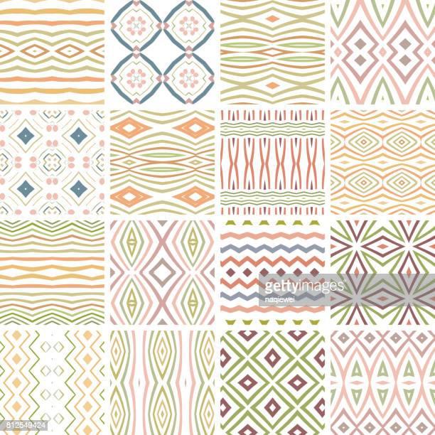 ilustraciones, imágenes clip art, dibujos animados e iconos de stock de colección de patrones sin fisuras - patchwork